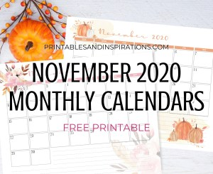 NOVEMBER 2020 Monthly Calendar Free Printable PDF - 2020 monthly calendar. AUTUMN or THANKSGIVING CALENDAR. Get your free download now! #freeprintable #printablesandinspirations