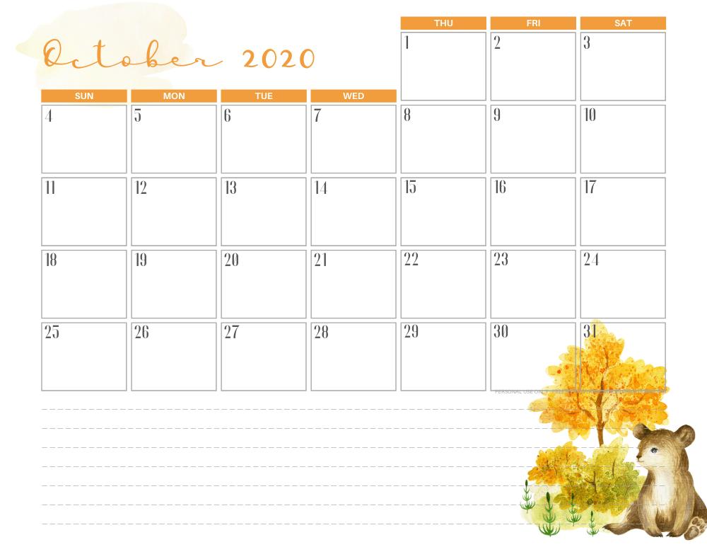 Free printable October 2020 calendar cute autumn theme