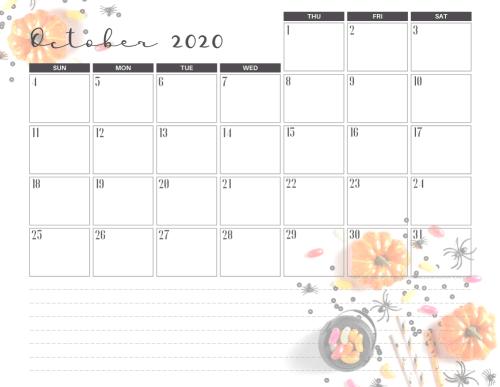 Free printable October 2020 calendar halloween theme