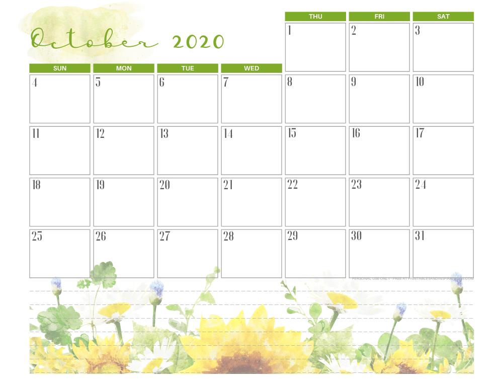 Free printable October 2020 calendar pretty floral theme