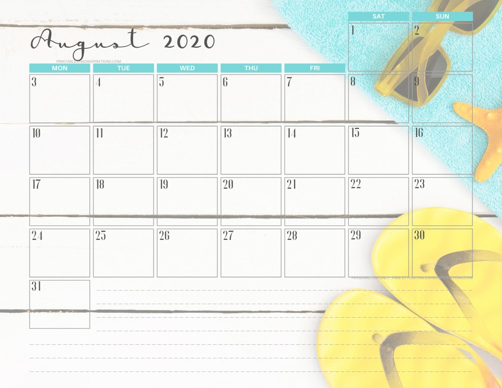 AUGUST 2020 summer calendar printable - free printable monthly planner #freeprintable #printablesandinspirations