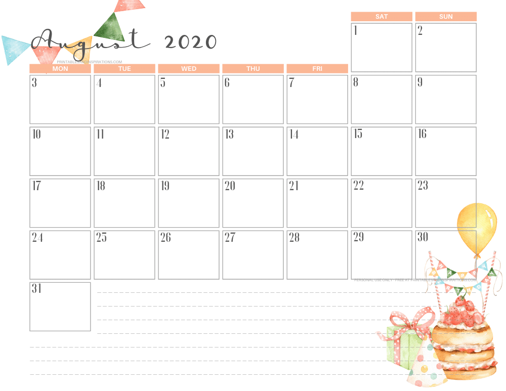 AUGUST 2020 birthday calendar printable - free printable monthly planner #freeprintable #printablesandinspirations
