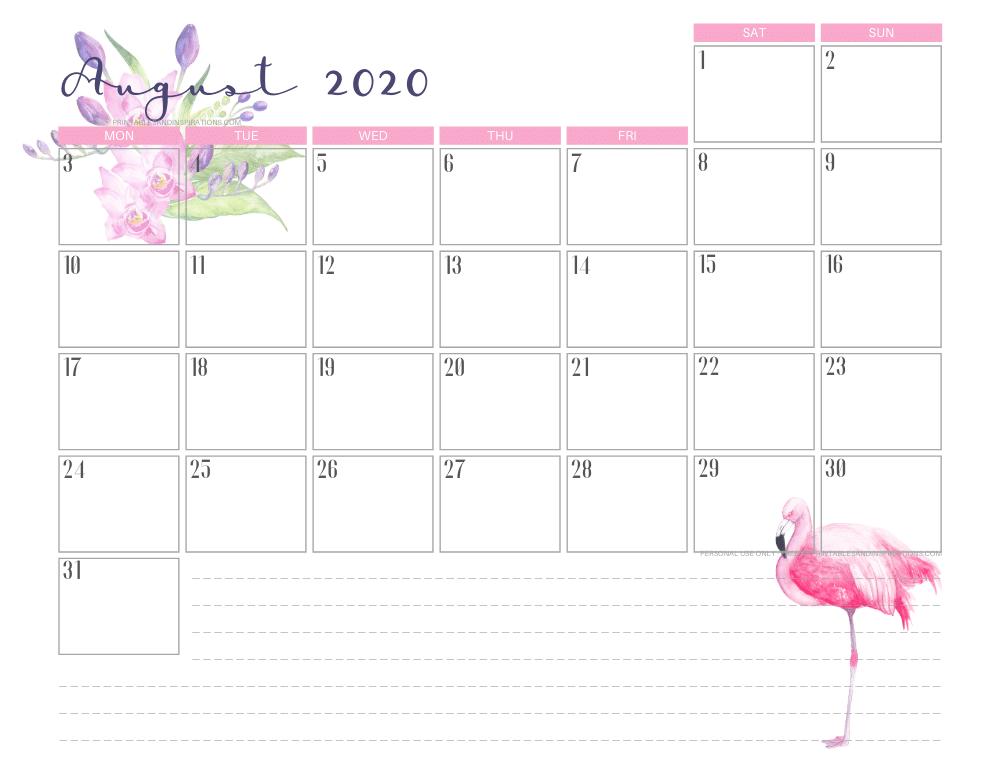 AUGUST 2020 flamingo calendar printable - free printable monthly planner #freeprintable #printablesandinspirations