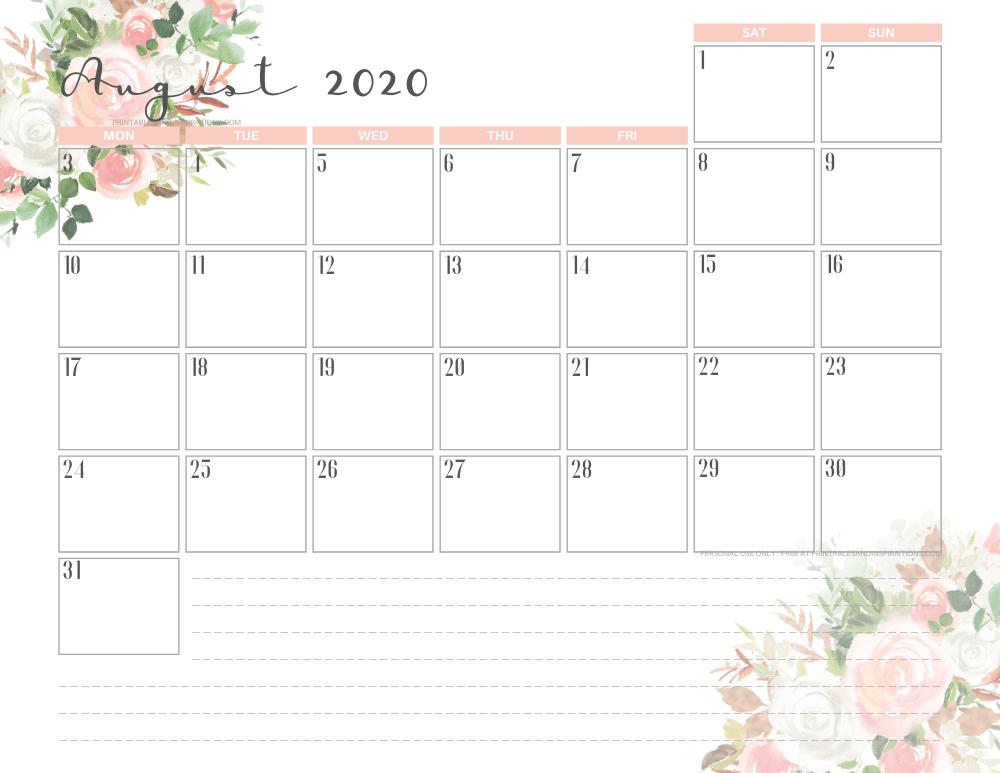 AUGUST 2020 pink calendar printable - free printable monthly planner #freeprintable #printablesandinspirations
