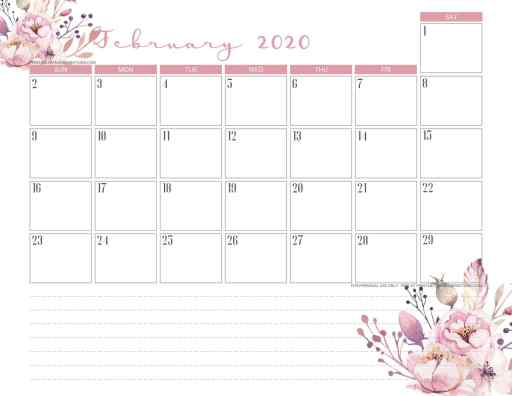 February 2020 calendar PDF - free printable monthly planner with pink flowers. #freeprintable #printablesandinspirations