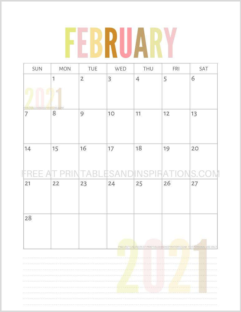 February 2021 calendar free printable pdf - downloadable 2021 monthly calendar