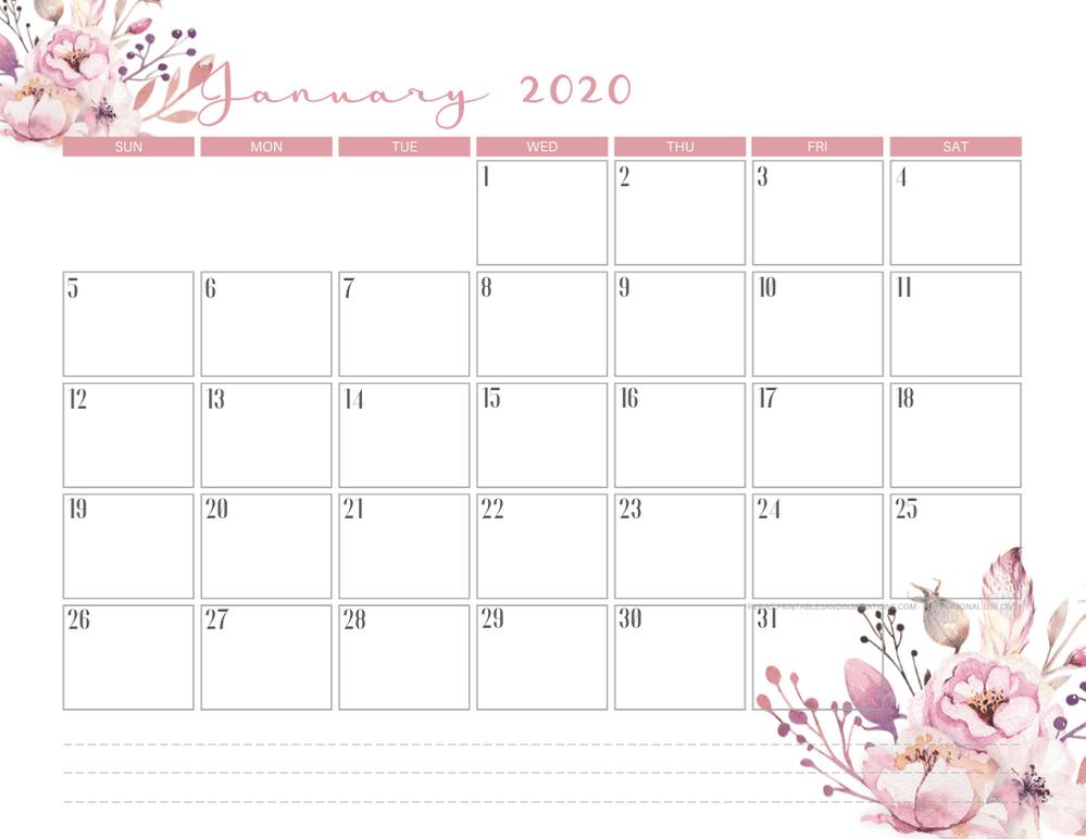 January 2020 calendar PDF - free printable monthly planner with pink flowers theme. #freeprintable #printablesandinspirations
