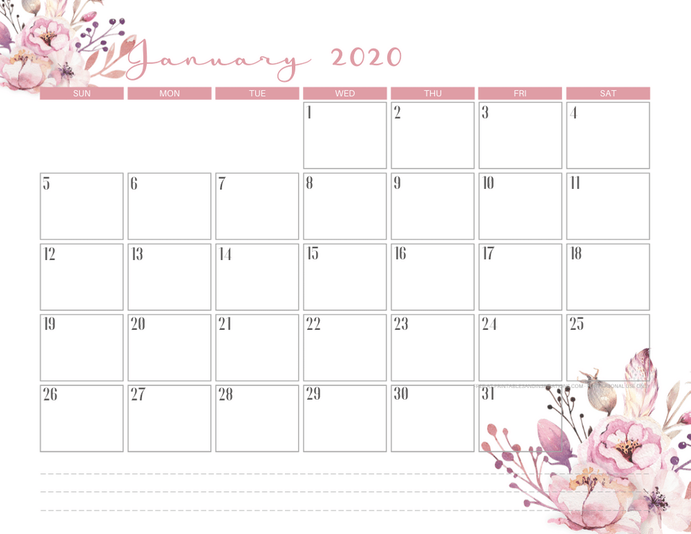 January 2020 calendar PDF - free printable monthly planner with pink flowers theme. #freeprintable #printablesandinspirations