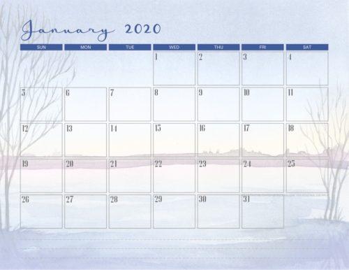 January 2020 calendar PDF - free printable monthly planner with winter theme. #freeprintable #printablesandinspirations