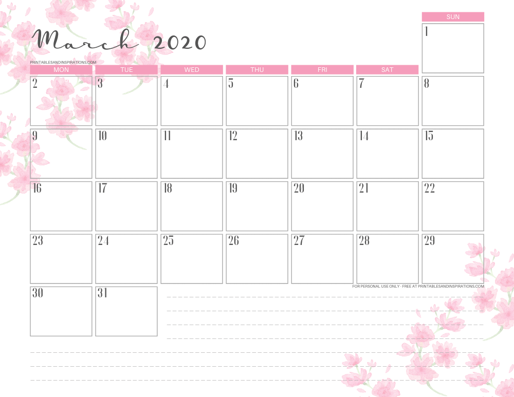 March 2020 calendar PDF - free printable monthly planner with cherry blossoms. #freeprintable #printablesandinspirations