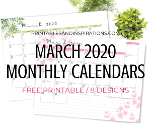 2020 Monthly Calendar Free Printable PDF - March 2020 monthly calendar. Get your free download now! #freeprintable #printablesandinspirations