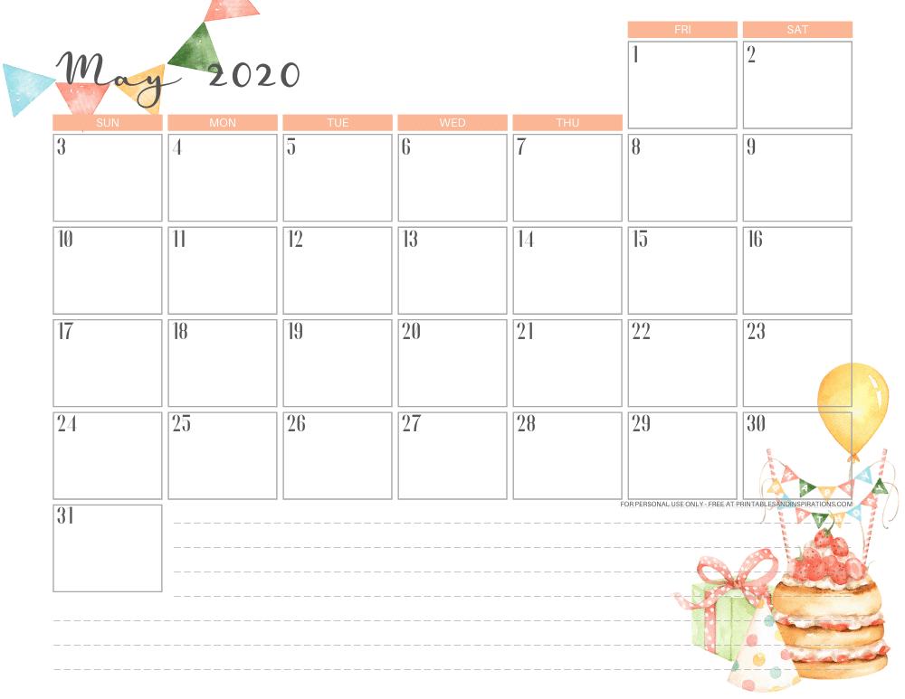 Free printable May 2020 calendar - birthday monthly calendar #freeprintable #printablesandinspirations #happybirthday