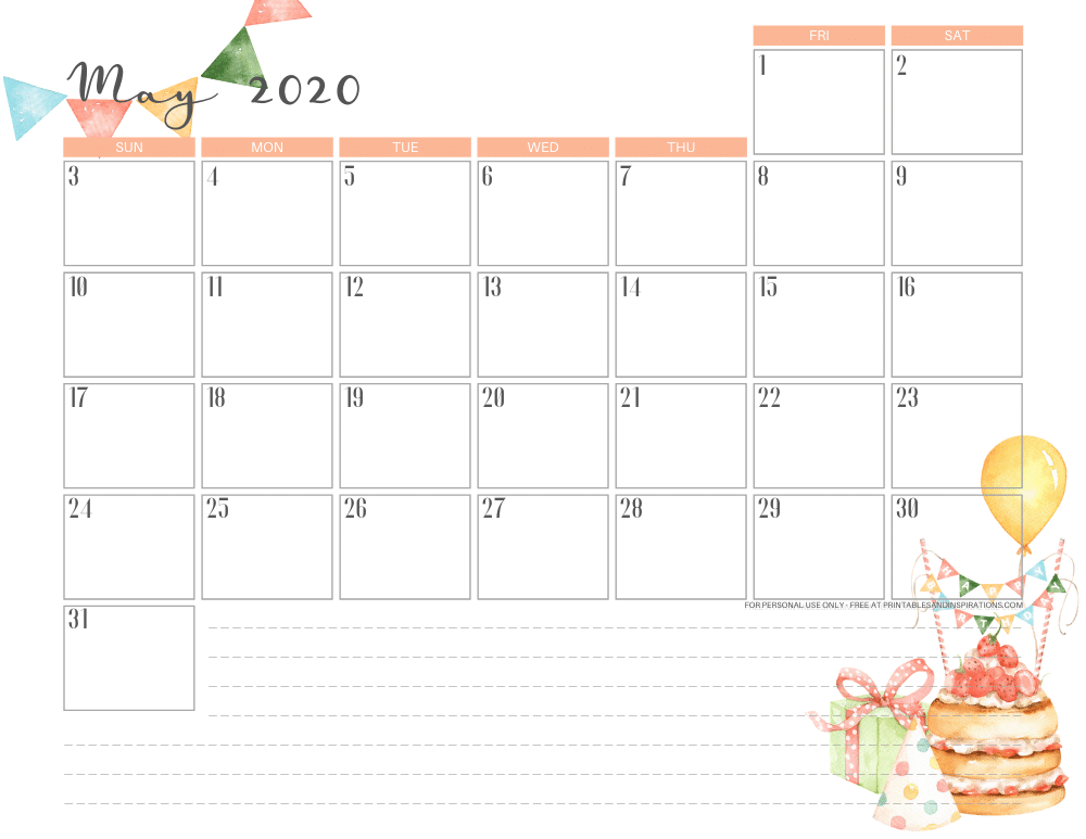 Free printable May 2020 calendar - birthday monthly calendar #freeprintable #printablesandinspirations #happybirthday