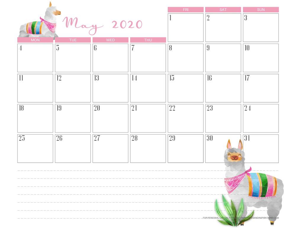 Free printable May 2020 calendar - llama theme planner #stayhome #freeprintable #printablesandinspirations #llama