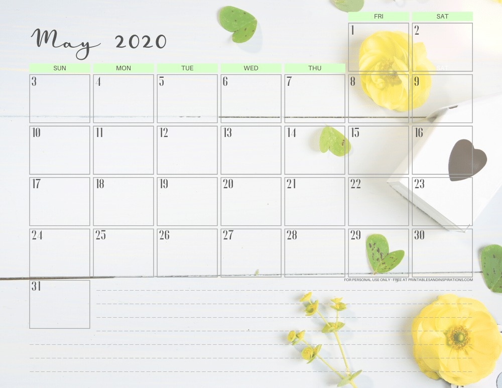 May 2020 calendar - canva photo background #stayhome #freeprintable #printablesandinspirations #canva