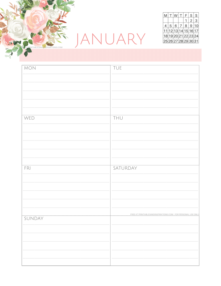 2021 Weekly Planner PDF - Free Printable Weekly Planner With 2021 Calendar. Choose a Sunday or Monday start calendar. Get your free download now! #freeprintable #printablesandinspirations #weeklyplanner