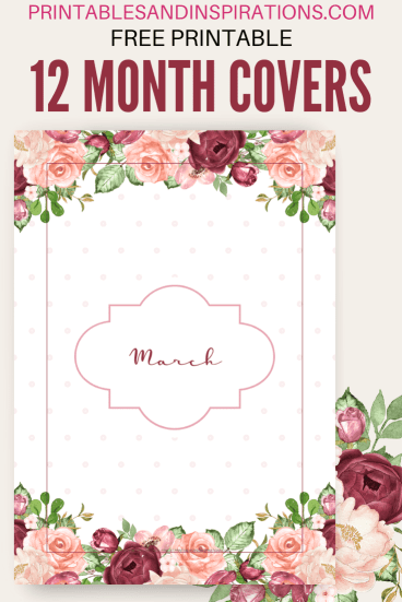 Free printable month covers - planner dividers, printable binder covers with red roses. Free PDF download! #freeprintable #printablesandinspirations #planneraddict
