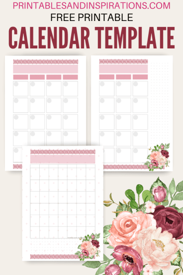 Free printable calendar template - monthly calendar, two-page calendar template. Free PDF download! #freeprintable #printablesandinspirations #planneraddict