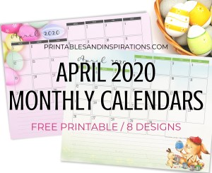 April 2020 Monthly Calendar Free Printable PDF - 2020 monthly calendar. Get your free download now! #freeprintable #printablesandinspirations