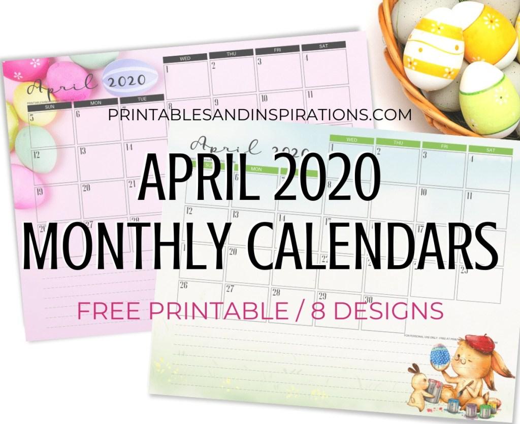 April 2020 Monthly Calendar Free Printable PDF - 2020 monthly calendar. Get your free download now! #freeprintable #printablesandinspirations