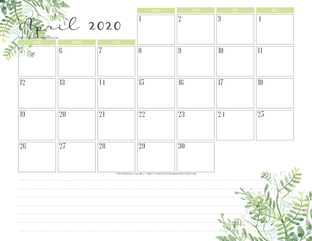 April 2020 calendar PDF - free printable monthly planner green eaves #freeprintable #printablesandinspirations