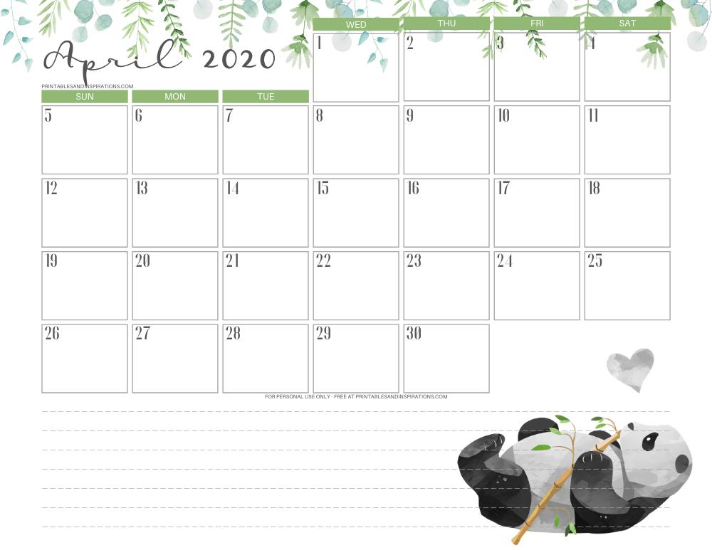 April 2020 calendar PDF - free printable monthly planner panda #freeprintable #printablesandinspirations #panda