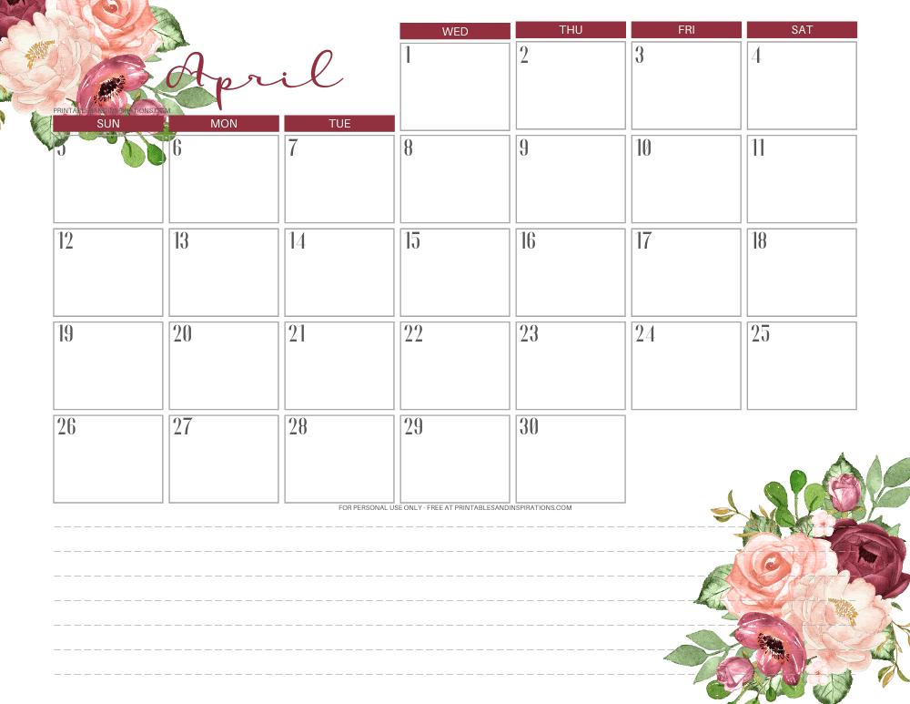 April 2020 calendar PDF - free printable monthly planner red roses #freeprintable #printablesandinspirations
