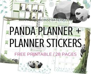 Free Printable Panda Planner And Panda planner stickers PDF - Panda-themed bullet journal printable pages, free download #freeprintable #printablesandinspirations #panda #cutepanda #pandalover #bulletjournal #planneraddict #plannerstickers