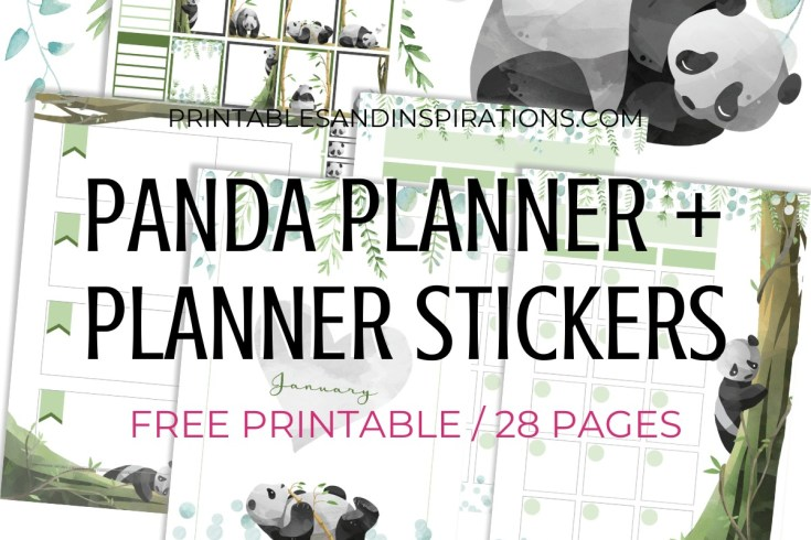 Free Printable Panda Planner And Panda planner stickers PDF - Panda-themed bullet journal printable pages, free download #freeprintable #printablesandinspirations #panda #cutepanda #pandalover #bulletjournal #planneraddict #plannerstickers