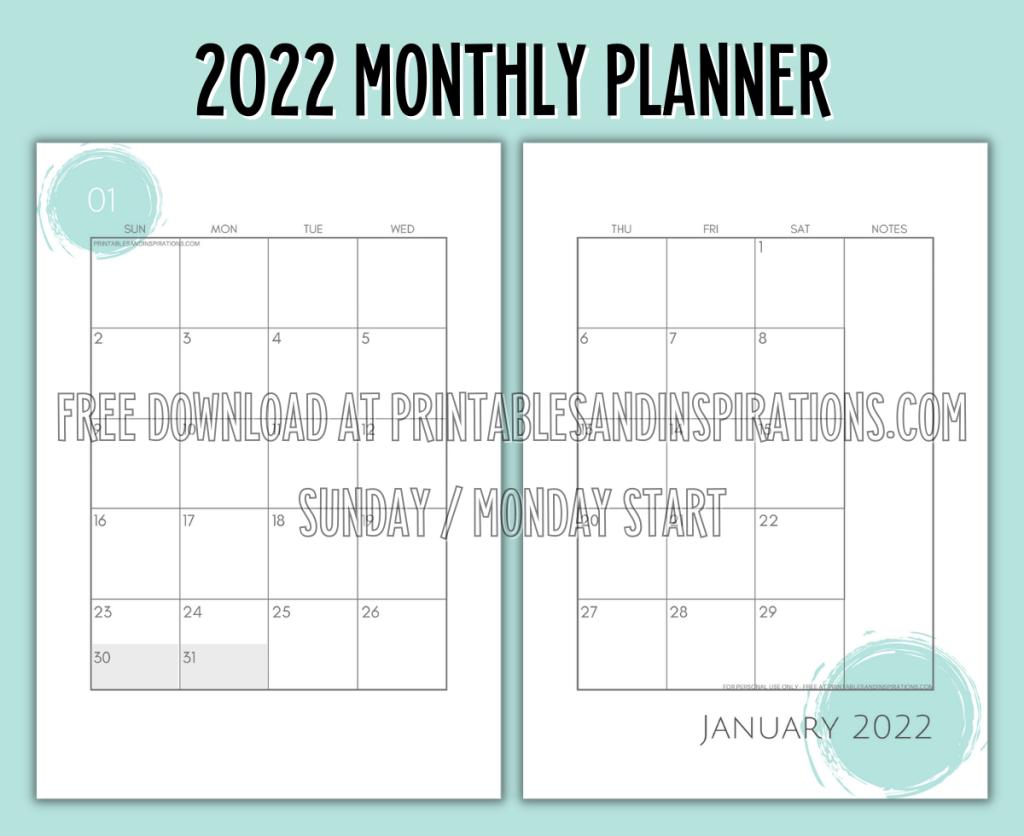 Free Printable 2022 Two Page Calendar Template - Monthly Calendar Spread #freeprintable #printablesandinspirations #2022calendar