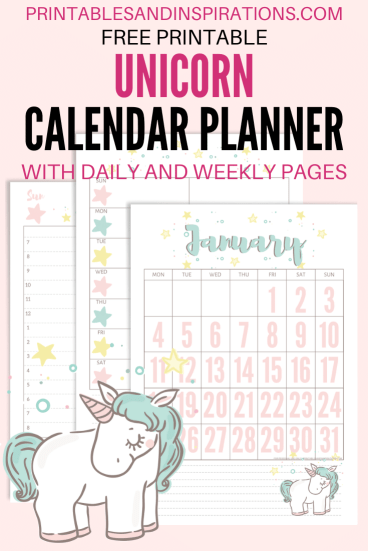 Free Printable Unicorn Calendar 2021 - monthly calendar with unicorn, unicorn planner pages #freeprintable #printablesandinspirations #unicorn