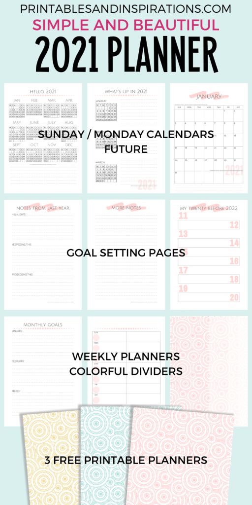 Free printable 2021 goals planner minimalist simple calendar - 2021 goal setting planner with monthly calendar and weekly planner #printablesandinspirations #goalsetting