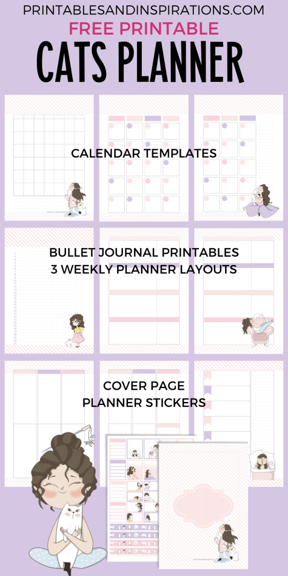Free Printable Planner And Stickers - Cat Lovers Calendar 2021 Planner #catlover #printablesandinspirations #freeprintable #planneraddict #bulletjournal