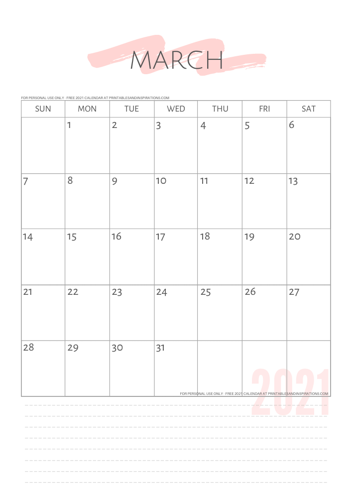 March 22021 simple calendar - free printable minimalist calendar - GO TO PREVIOUS POST TO DOWNLOAD THE PDF FILE #printablesandinspirations