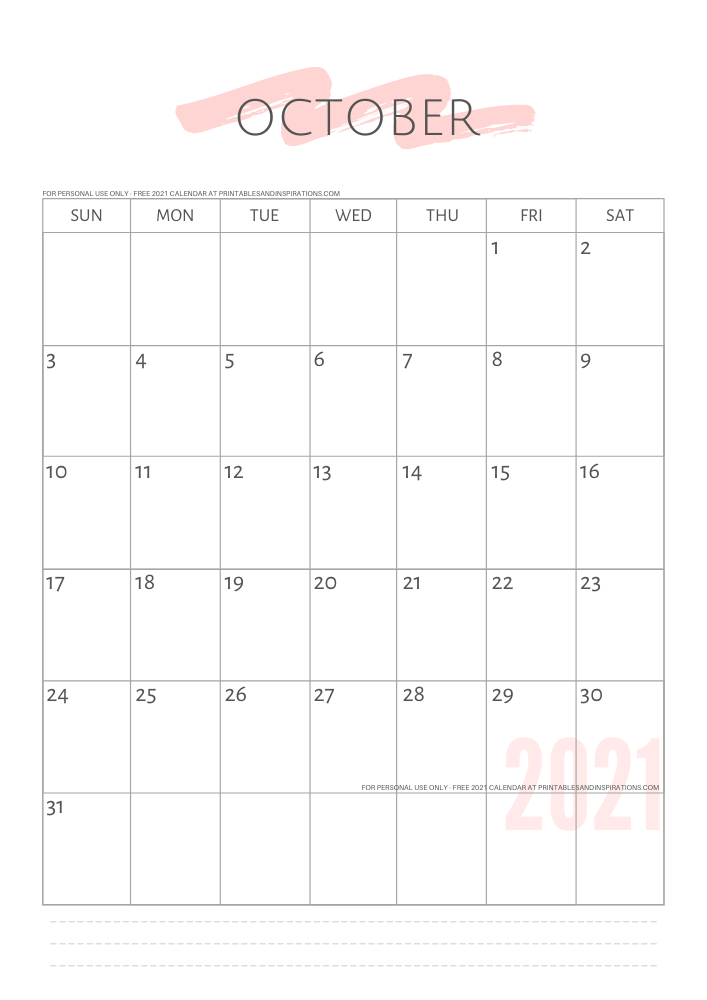 October 2021 simple calendar - free printable minimalist calendar and weekly planner - GO TO PREVIOUS POST TO DOWNLOAD THE PDF FILE #printablesandinspirations