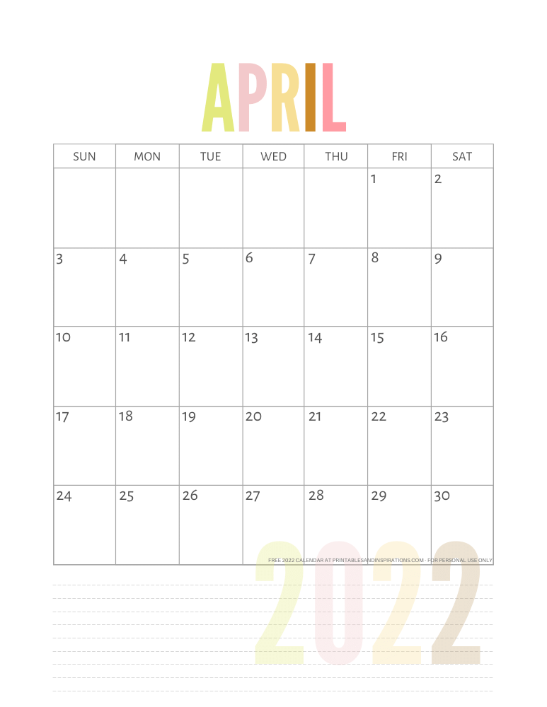 April 2022 calendar free printable pdf - downloadable 2022 monthly calendar - SEE PREVIOUS POST TO DOWNLOAD THE PDF FILE #printablesandinspirations