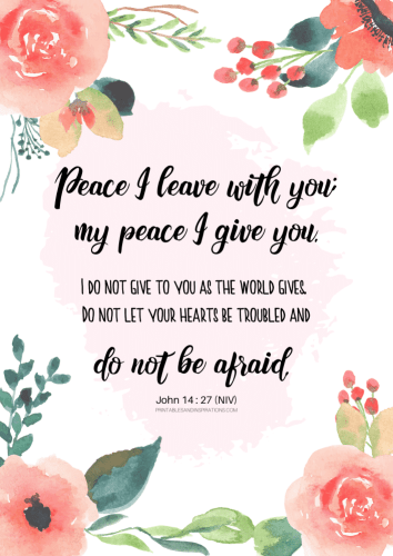 12 Free Printable Bible Verses On Healing - Peace I leave with you - John 14:27 #bibleverse #printablesandinspirations SEE PREVIOUS POST TO DOWNLOAD THE PDF FILE