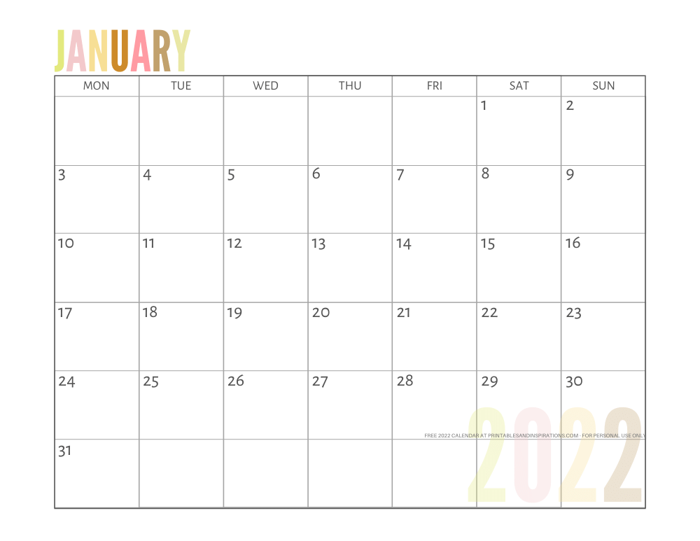 January 2022 calendar free printable pdf - downloadable 2022 monthly calendar - SEE PREVIOUS POST TO DOWNLOAD THE PDF FILE #printablesandinspirations