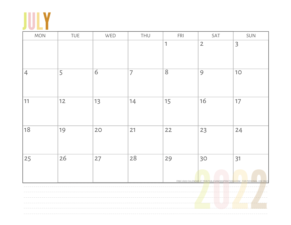 July 2022 calendar free printable pdf - downloadable 2022 monthly calendar - SEE PREVIOUS POST TO DOWNLOAD THE PDF FILE #printablesandinspirations