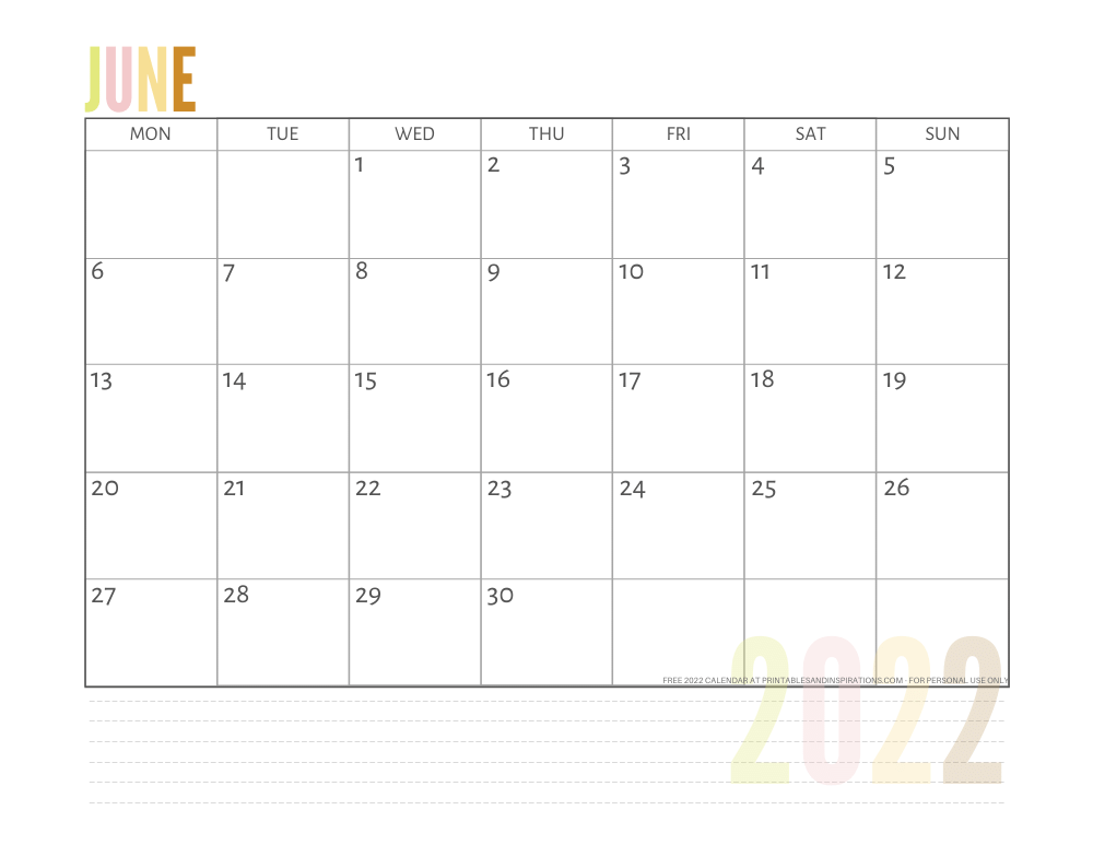 June 2022 calendar free printable pdf - downloadable 2022 monthly calendar - SEE PREVIOUS POST TO DOWNLOAD THE PDF FILE #printablesandinspirations