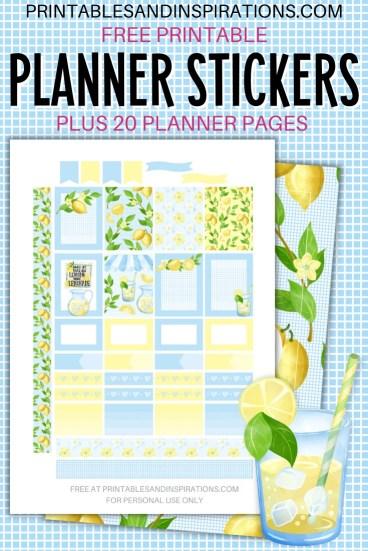 Free Printable Planner Stickers - Lemon #printablesandinspirations #bulletjournal #planneraddict #freeprintable #plannerstickers