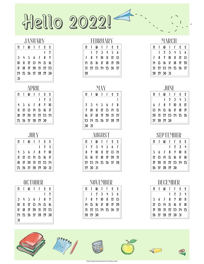 Free printable 2022 calendar - SEE PREVIOUS POST TO DOWNLOAD THE FREE STUDENT PLANNER AND MONTHLY 2022 CALENDAR