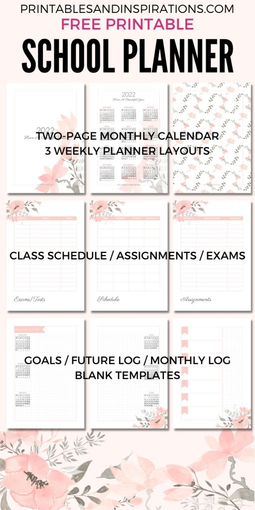 Free Printable 2021 2022 Planner For School Or Work! A4 or A5 planner with 2022 2021 monthly calendar and more school planner pages. Free download now! #freeprintable #printableplanner #printablesandinspirations #backtoschool