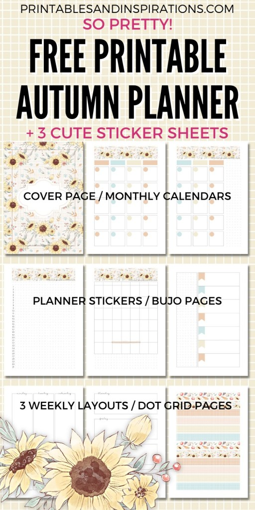 Free Printable Fall Planner + autumn themed planner stickers for bullet journal + links to fall clipart #freeprintable #printablesandinspirations