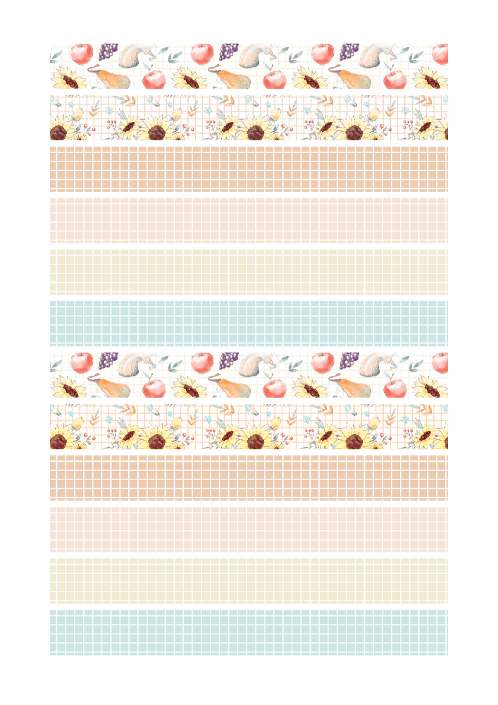 Cute Fall Washi Tape - autumn themed autumn tape for bullet journal + links to fall clipart #freeprintable #printablesandinspirations - SEE PREVIOUS POST TO DOWNLOAD 3 STICKER SHEETS AND FREE PRINTABLE PLANNER