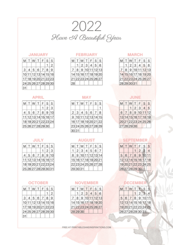 2022 Free Printable Calendar - free printable 2022 calendar and planner pages #printablesandinspirations - SEE PREVIOUS POST TO DOWNLOAD THE COMPLETE 2022 PLANNER
