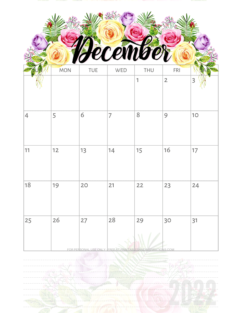 December -2022 pretty calendar - free printable monthly planner with roses #printablesandinspirations - SEE PREVIOUS POST TO DOWNLOAD THE COMPLETE 2022 CALENDAR