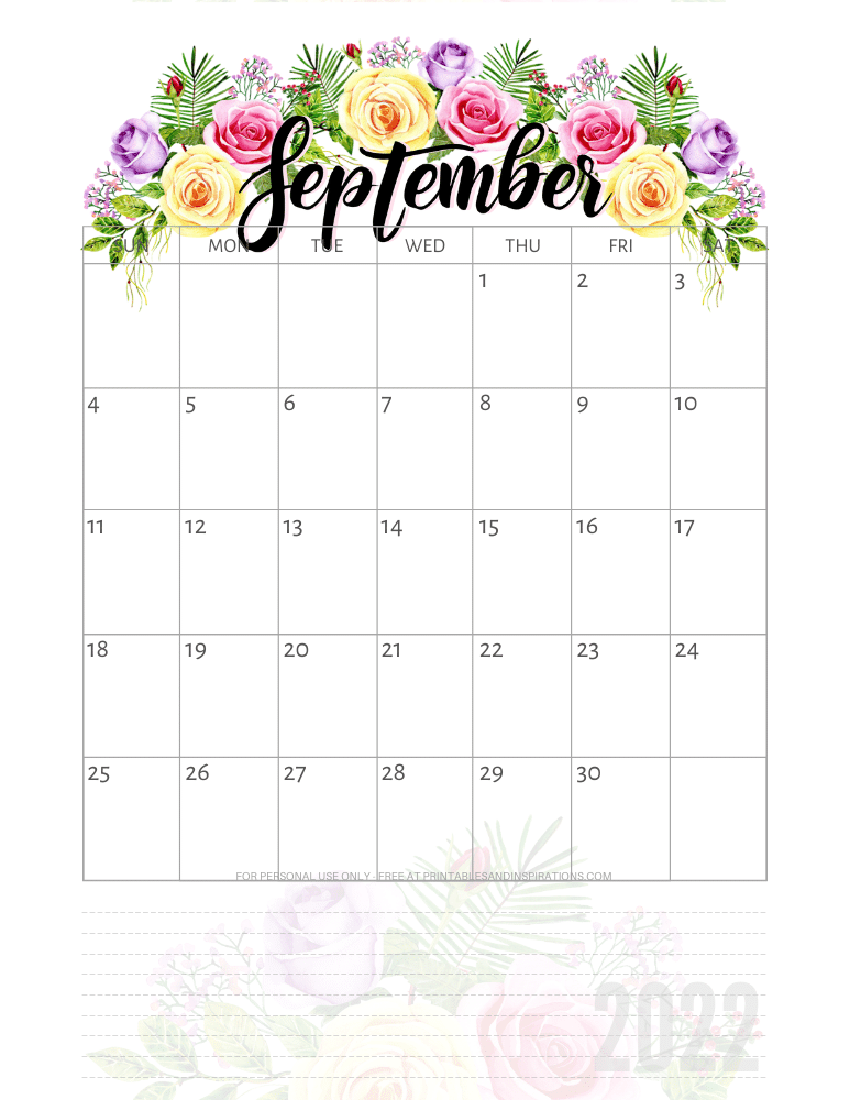 September 2022 pretty calendar - free printable monthly planner with roses #printablesandinspirations - SEE PREVIOUS POST TO DOWNLOAD THE COMPLETE 2022 CALENDAR