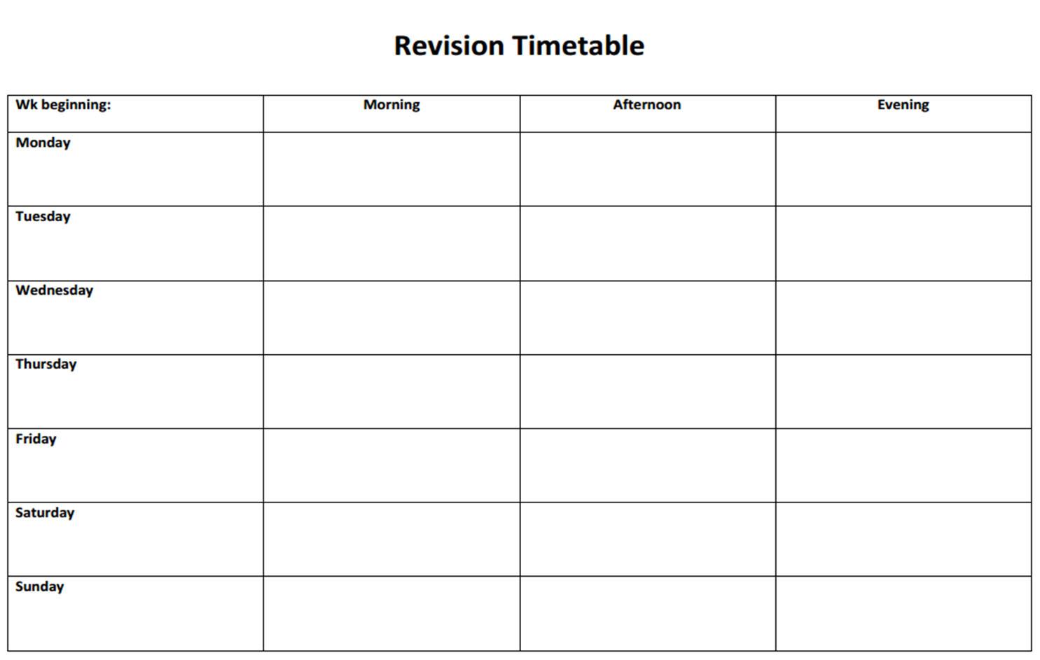 Homework Timetable Template