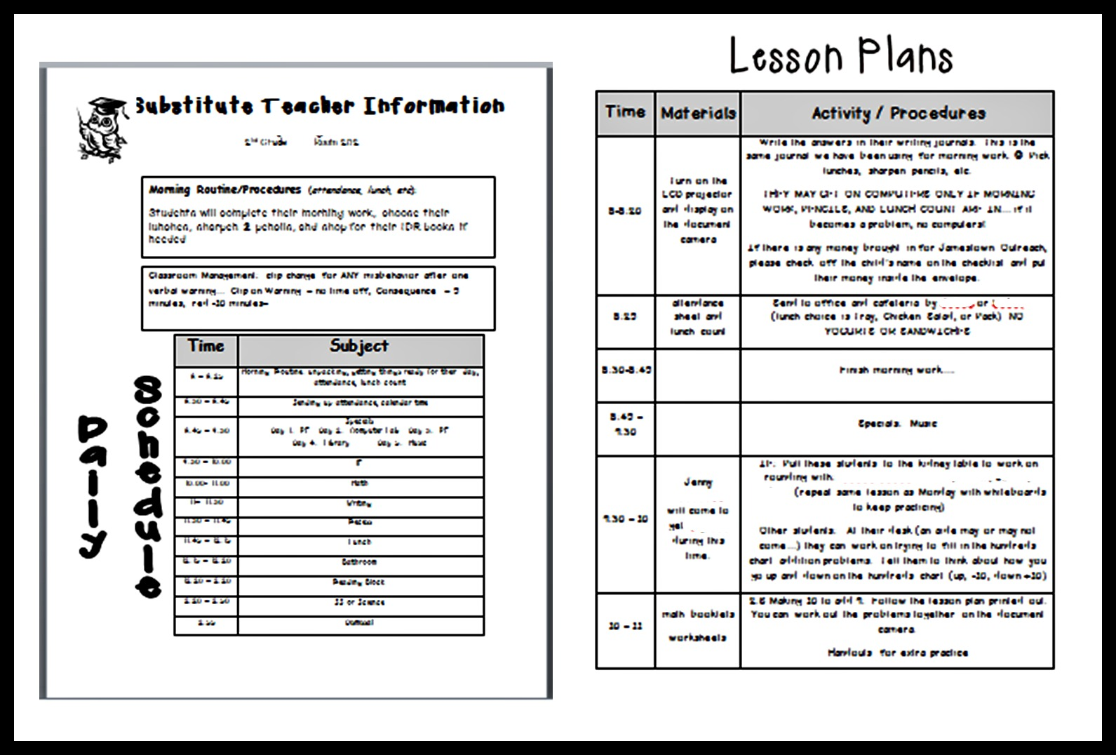 Lesson Plan Template For Substitute Teacher